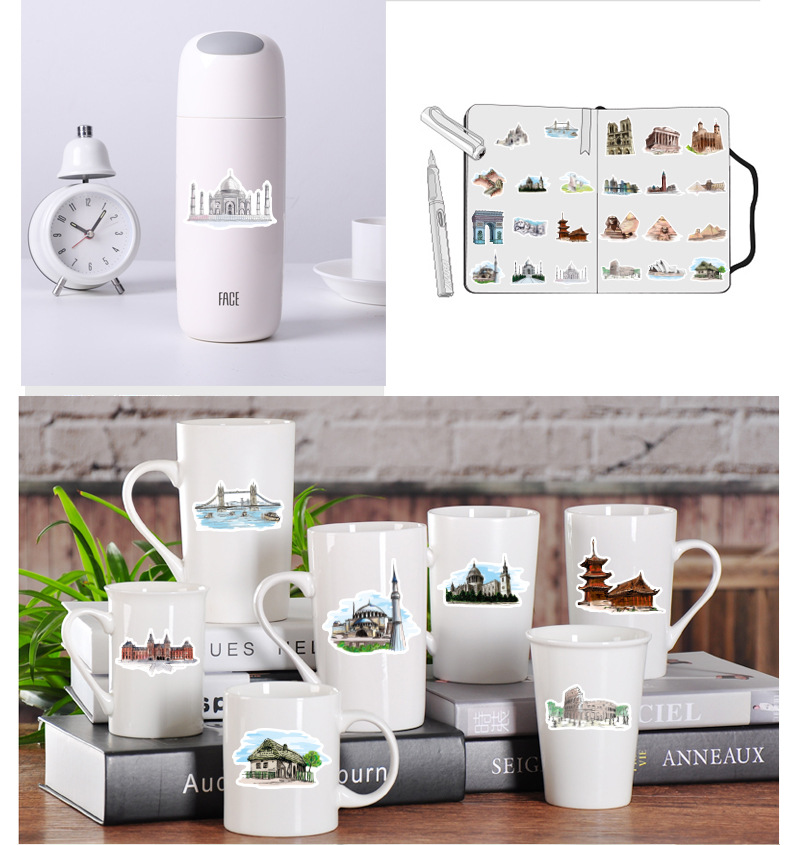 40 pcs/pack World Architecture Tourism PVC  Stationery Stickers Scrapbooking DIY Diary Album Stick Label