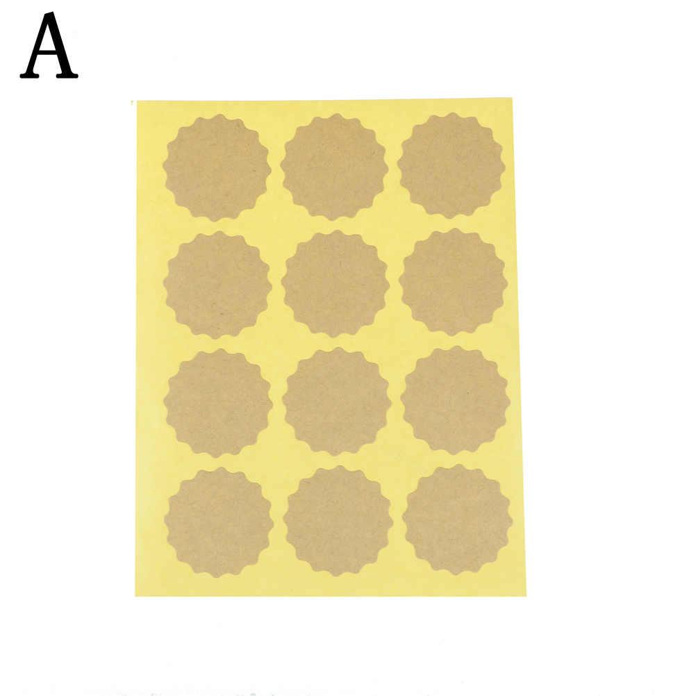 120pcs ดอกไม้รูปซีลป้ายของขวัญป้ายสติกเกอร์ห่อของขวัญ Blank Kraft กระดาษสติกเกอร์