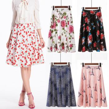 цена на Autumn Printing Skirt Women's Vintage Floral Skirt Omens Casual Retro High Waist Evening Party Short Print Skirt