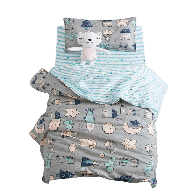 3Pcs Cute Animal Cotton Crib Bed Linen Kit Cartoon Baby Bedding Set Includes Pillowcase Bed Sheet Duvet Cover Without Filler