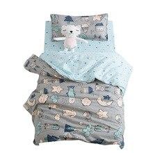 3Pcs Cute Animal Cotton Crib Bed Linen Kit Cartoon Baby Bedd