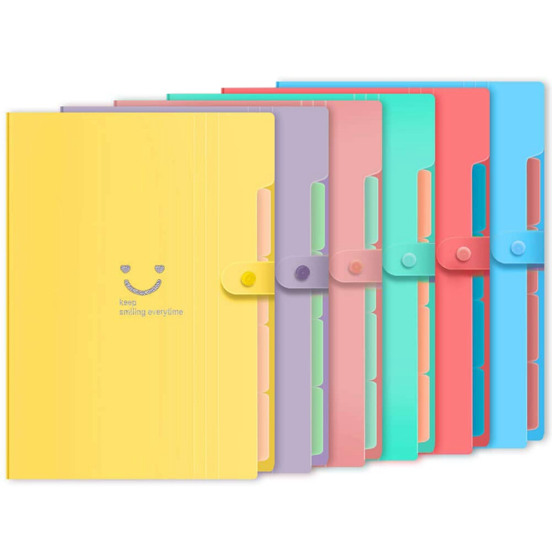 6Pcs Extended File Folders With 5 Pocket Storage Pockets A4 Size For School Teachers And Office Use
