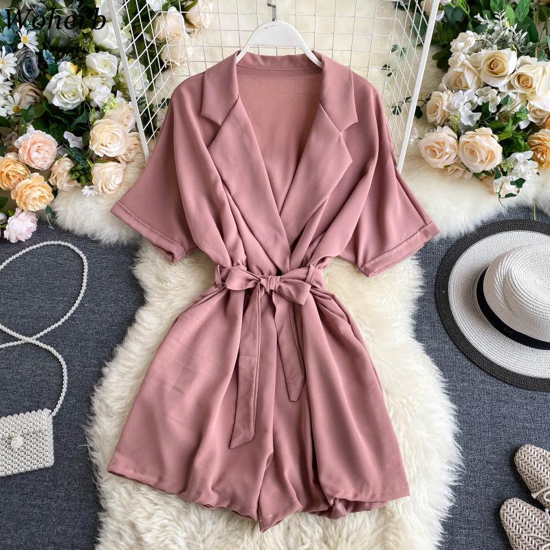 Woherb Casual V-neck Jumpsuit Women Loose Wide Leg Palysuit 2020 Summer Rompers Womens Jumpsuits with Belt Fashion Nova Woman 1