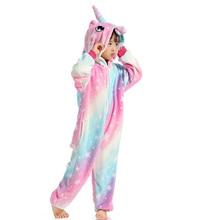 Girls Boys Winter Kigurumi Pajamas Unicorn Cartoon Anime Animal Onesies Sleepwear Coral Fleece Warm Jumpsuit Children