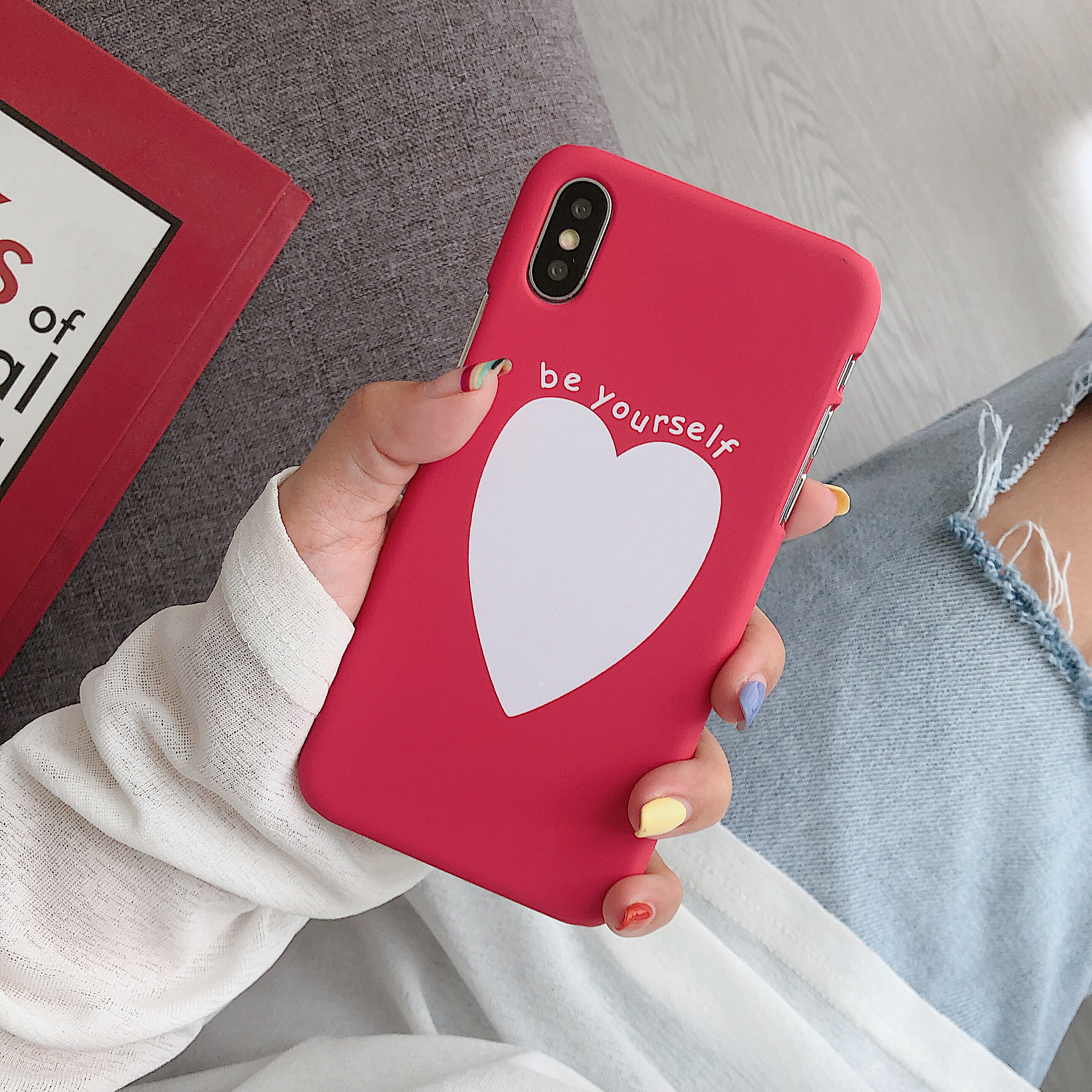 Image 3 - Phone Bag Case Accessories For iPhone X XR XS MAX 6 6s 7 8Plus Luxury Couple Love Heart Eyes Print Fashion Back Cover Capa Coque-in Half-wrapped Cases from Cellphones & Telecommunications