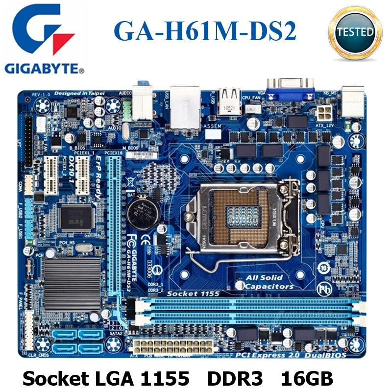 GIGABYTE GA-H61M-DS2 Desktop Motherboard H61 Socket LGA 1155 I3 I5 I7 DDR3 16G UATX UEFI BIOS Original H61M-DS2 Mainboard