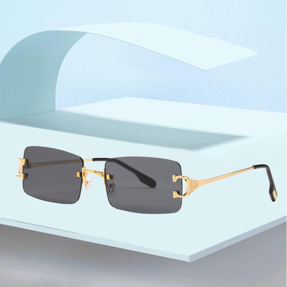 Прямоугольные узкие маленькие солнцезащитные очки без оправы