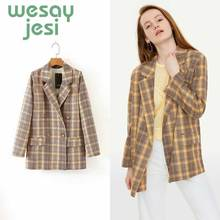 купить Women Double breasted plaid blazer Female long sleeve turn-down collar office blazer 2019 Autumn jacket women outerwear coats по цене 1397.06 рублей