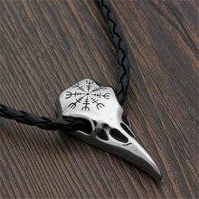 Vintage Norse Mythology Viking Pirates Compass Skull Raven Head Necklace Pendant for Men Punk Jewelry
