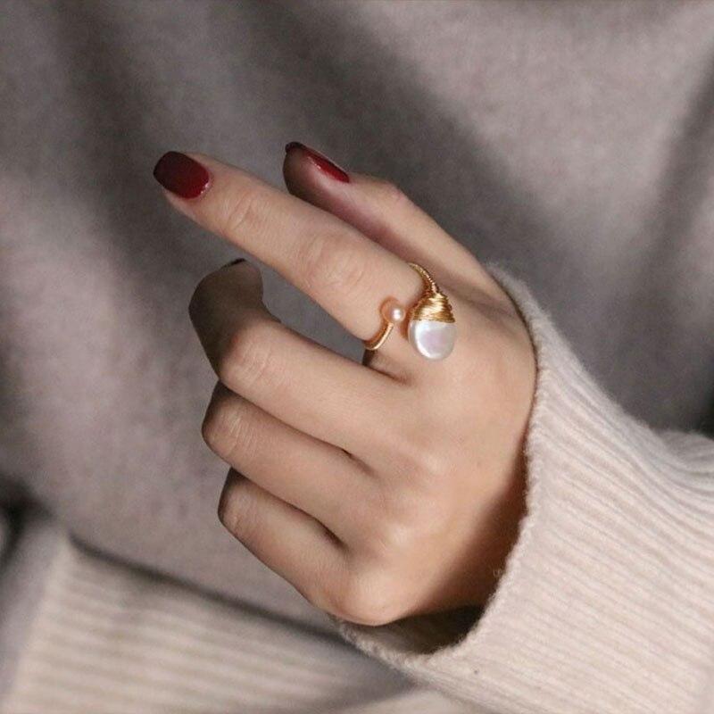 Bijoux de mode pour femmes naturel Baroque perle Wrap 14k or anneau ouvert femme dîner perle Glamour bijoux accessoires
