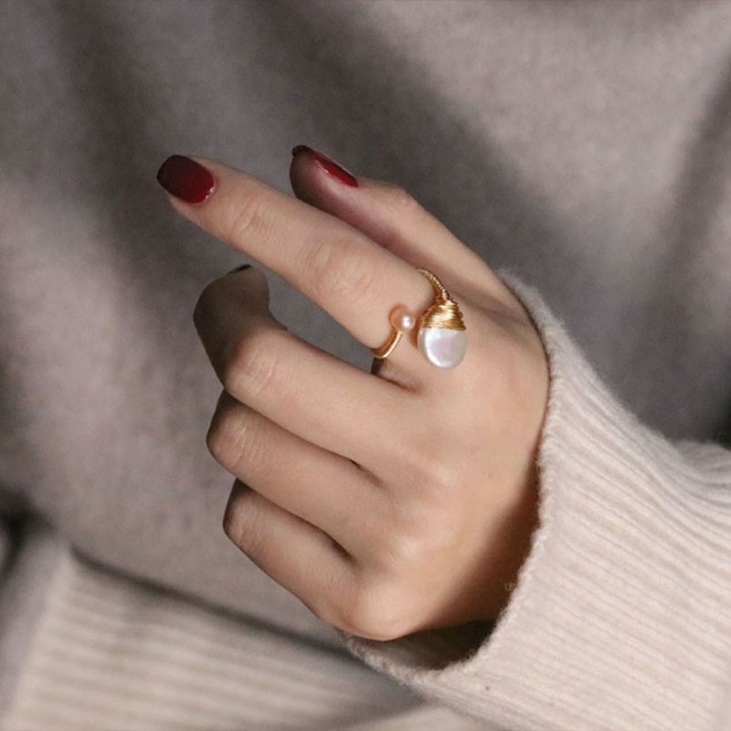Women's Fashion Jewelry Natural Baroque Pearl Wrap 14k Gold Open Ring Female Dinner Pearl Glamour Jewelry Accessories