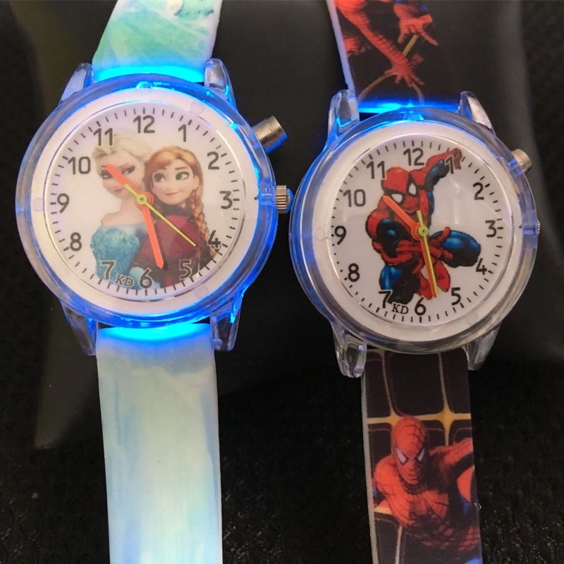 Princess Elsa Kids Watches Girls Silicone Strap Cartoon Spiderman Boys Wrist Watch Colorful Flash Light Children Quartz Watch