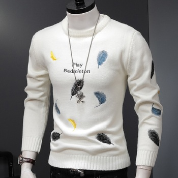 Long Sleeve Sweaters Men Autumn Winter Sweater Pullovers Gentlemen O-Neck Letter Feather Embroidery Fashion Warm New Trend