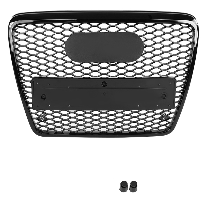 Сетчатый решетчатый гриль в виде сот для Audi A6 S6 C6 4F 2004-2011 глянцевый черный ABS передний бампер капот гоночная решетка