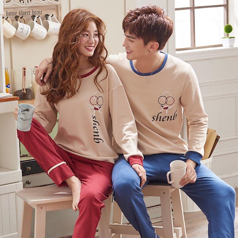 Wontive Men Pyjamas Suit Autumn Couple Pajamas Long Sleeve Pijama For Male Plus Size Sleep Clothing Cotton Nightie Sleepwear