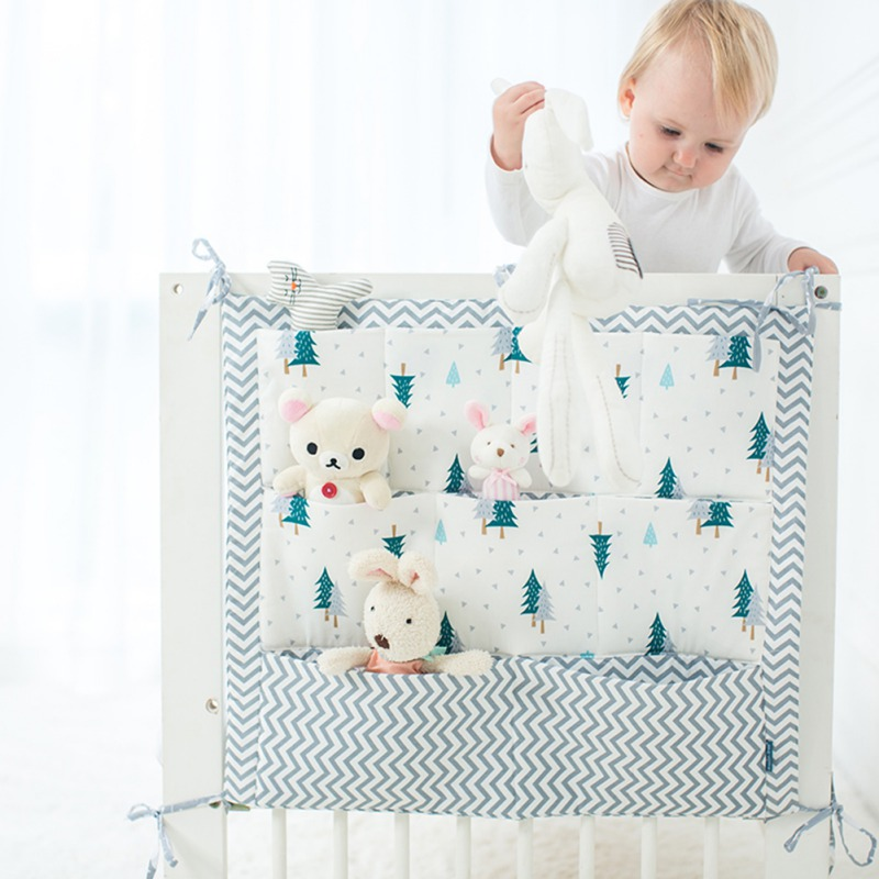 F-B Kamers Nursery Opknoping Opbergtas Luier Pocket Voor Pasgeboren Wieg Beddengoed Set Babybedje Bed Crib Organizer Speelgoed