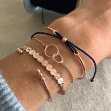 4pcs/Set  Engraved geometric shape gold color Decor Cuff Bracelet Best Gift for Women Girl B003 trendy solid color nail shape cuff bracelet for women