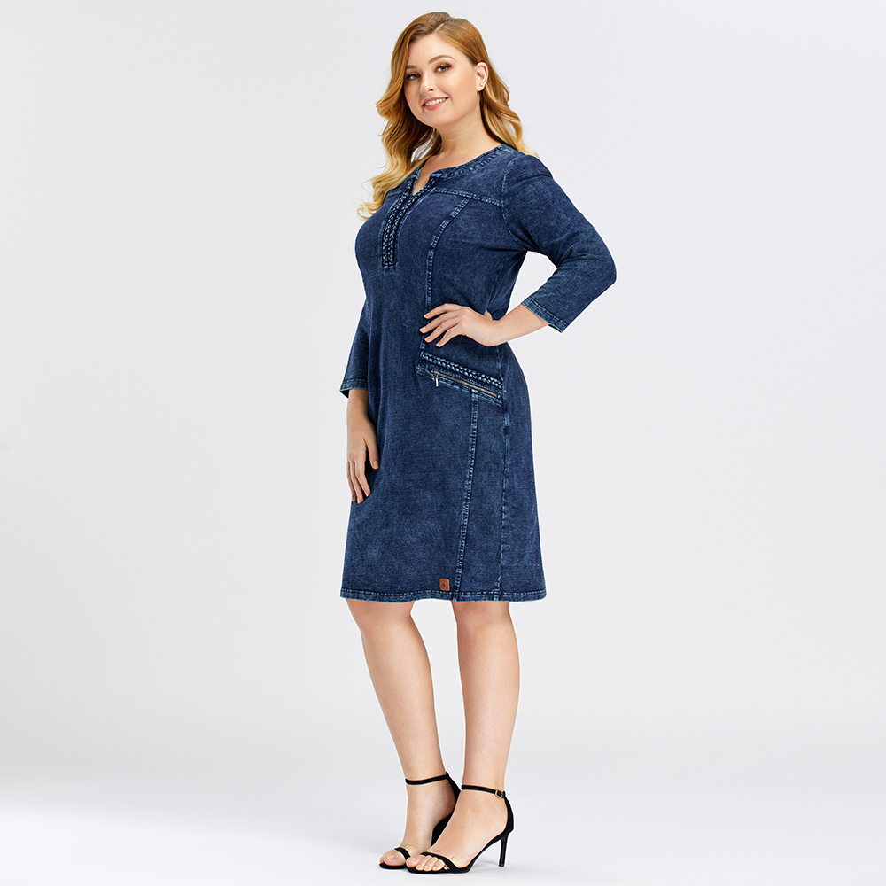 LIH HUA Women's Plus Size Denim Dress high flexibility Slim Fit Dress Casual Dress Shoulder pads for clothing SHEIN Women Women's Clothings Women's Shein Collection