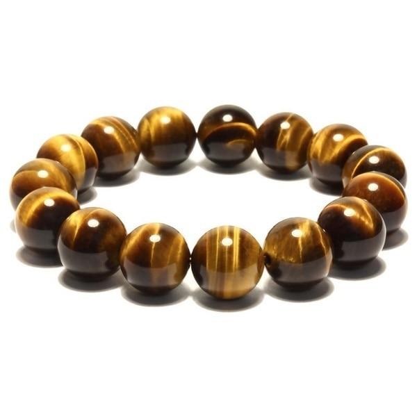 A Fine Natural Tiger Eye Bracelet Pseudocrocidolite Jewelry Gemstone Bracelet (Color: Tan)