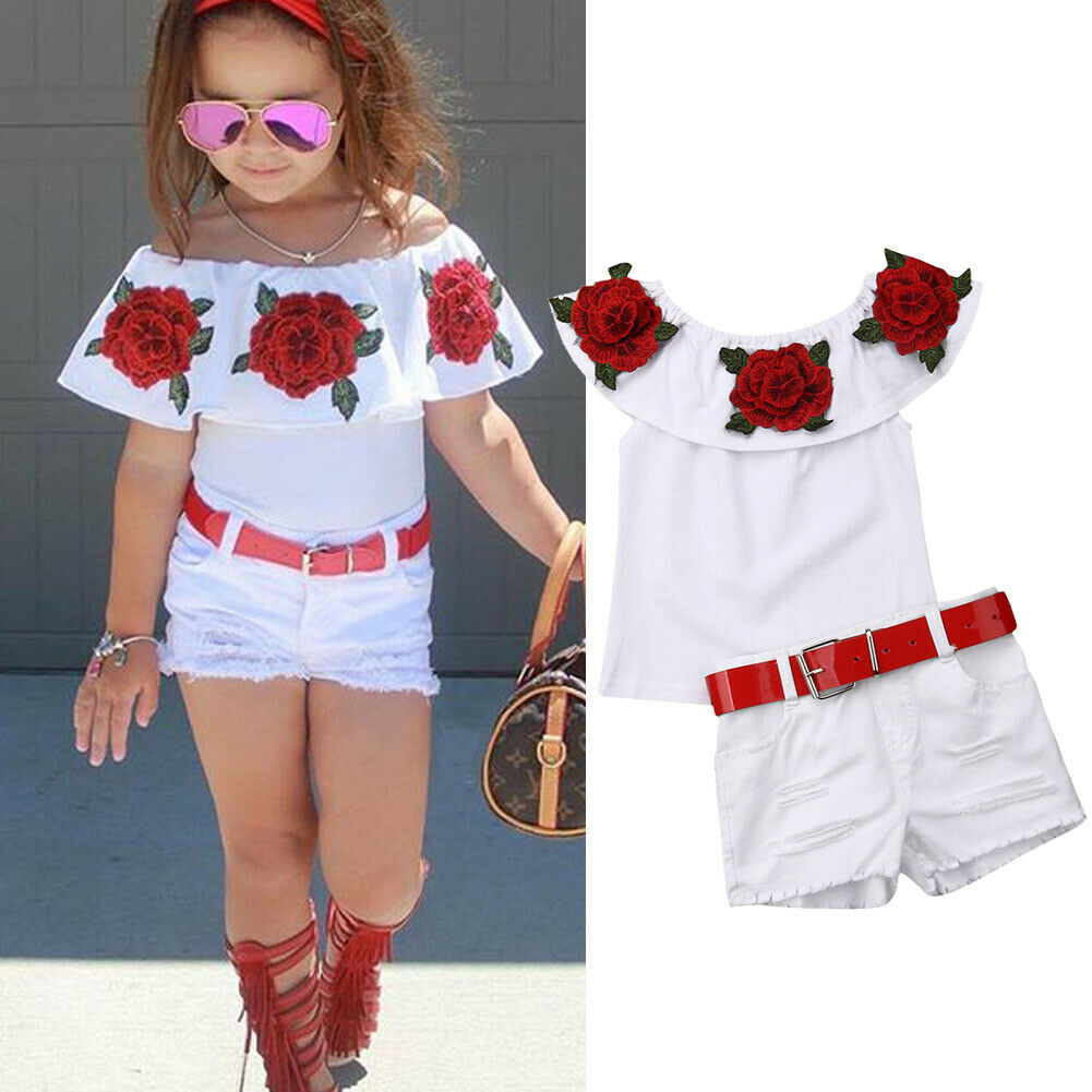 1-7 Years Infant Kid Baby Girls Clothes Set Off Shoulder 3D Rose Flower Ruffle White T-shirt Tops + Shorts Outfits Sets