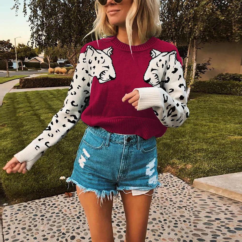여성을위한 가을 니트 자른 스웨터 레오파드 패턴 긴 소매 뜨개질 스웨터 Pullovers 여성 2020 겨울 느슨한 점퍼