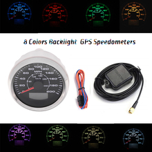 все цены на 85mm GPS Speedometers 0-200MPH 300km/h LCD Speed Odometers Speed Mileometers Trip Gauge Cog 8 Colors Backlight онлайн