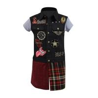 Cossky Prompto Argentum Cosplay Costume Men's embroidered pattern Denim Vest Jacket