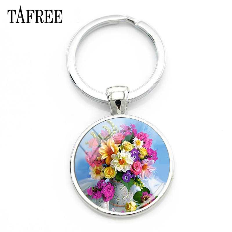 TAFREE elegancki kolorowy obraz z kwiatami brelok piękne kwiaty breloczek dla kobiet Fashion Party biżuteria F01-25