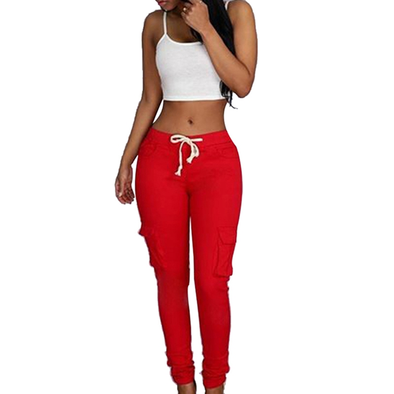 High Quality 2020 Spring Lace Up Waist Casual Women Pants Solid Pencil Pants Multi-Pockets Plus Size Straight Slim Fit Trousers