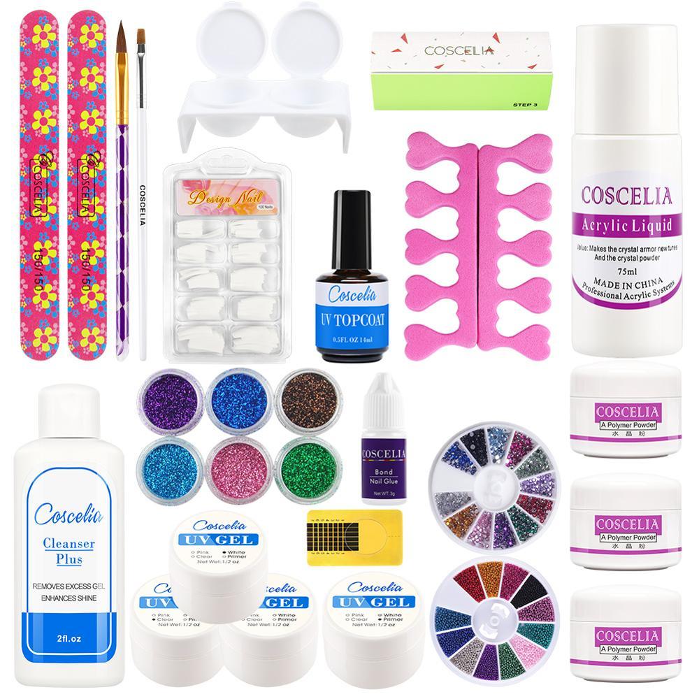 COSCELIA Nail Polish Set High Quality Acrylic Nail Tool Set Nail Powder Manicure Set UV Gel Set Crystal Nail Manicure Set
