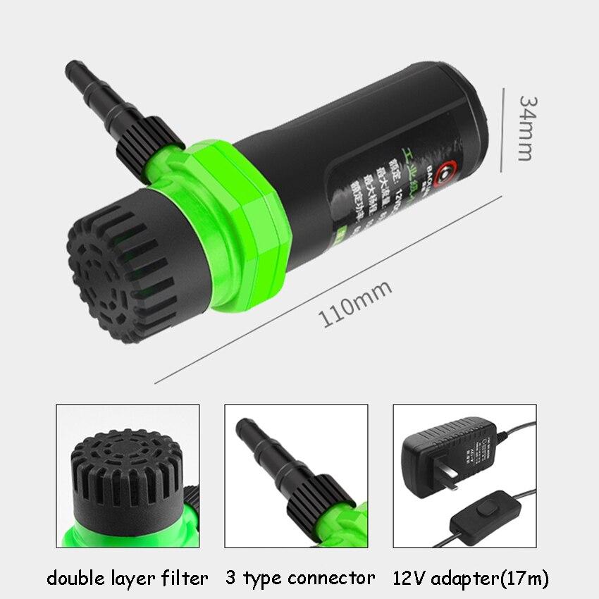 7/10/15meter DC12V Adapter Micro Self-priming Pump Cutting Machine DIY Submersible Water Pump Max Flow 8L/min