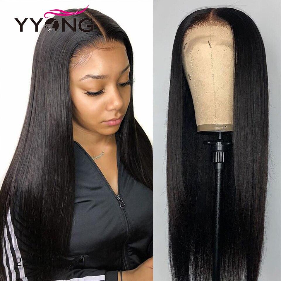 YYong перуанские прямые 1x4 и 1x6 T часть HD прозрачные кружевные передние парики Remy кружевной передний al парик из человеческих волос Средняя част...