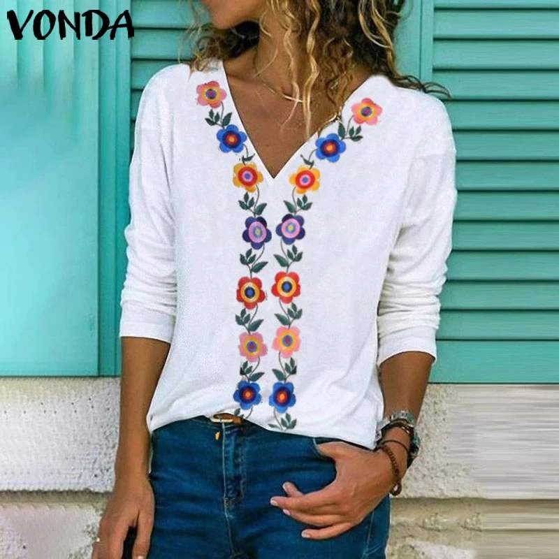 VONDA WomenVintage Print Shirts 2020 Spring Autumn Long Sleeve Blouse Office Ladies Tops Casual Tunic Party Tops Plus Size 5XL