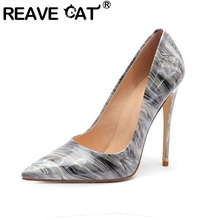 REAVE CAT Spring Autumn Pumps Pointed Toe 12cm Thin Heels Patent Leather Slip on Mixed Color Plus size 34-45 Casual Party A2846