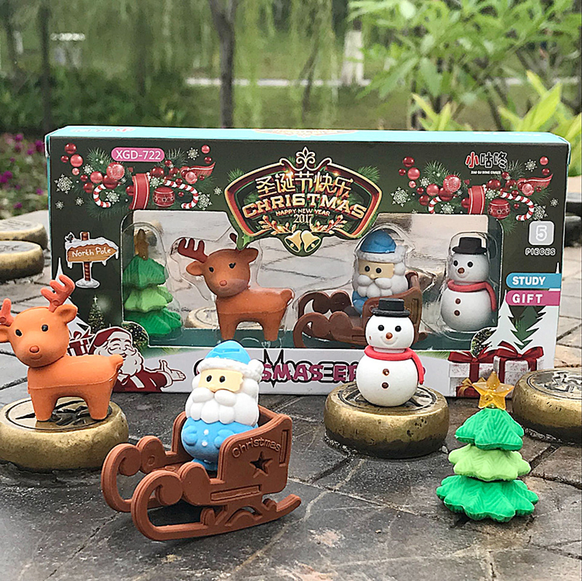 1Set Creative Cute Cartoon Santa Claus Christmas Tree Deer Snowman Shape Pencil Erasers, School Reward Supplies Kids Stationary