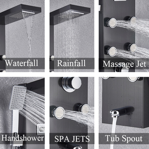 Image 2 - Black Bath Shower Thermostatic Mixer Shower Panel Rainfall Waterfall Massage Jets Shower Column  Shower Faucet Tower Shower Set