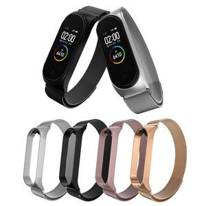 Mental Bracelet Strap For Xiaomi Mi Band 4 3 Series Colorful Mental Stainless Steel Wristband Strap Watch Band For Mi Band 4 3