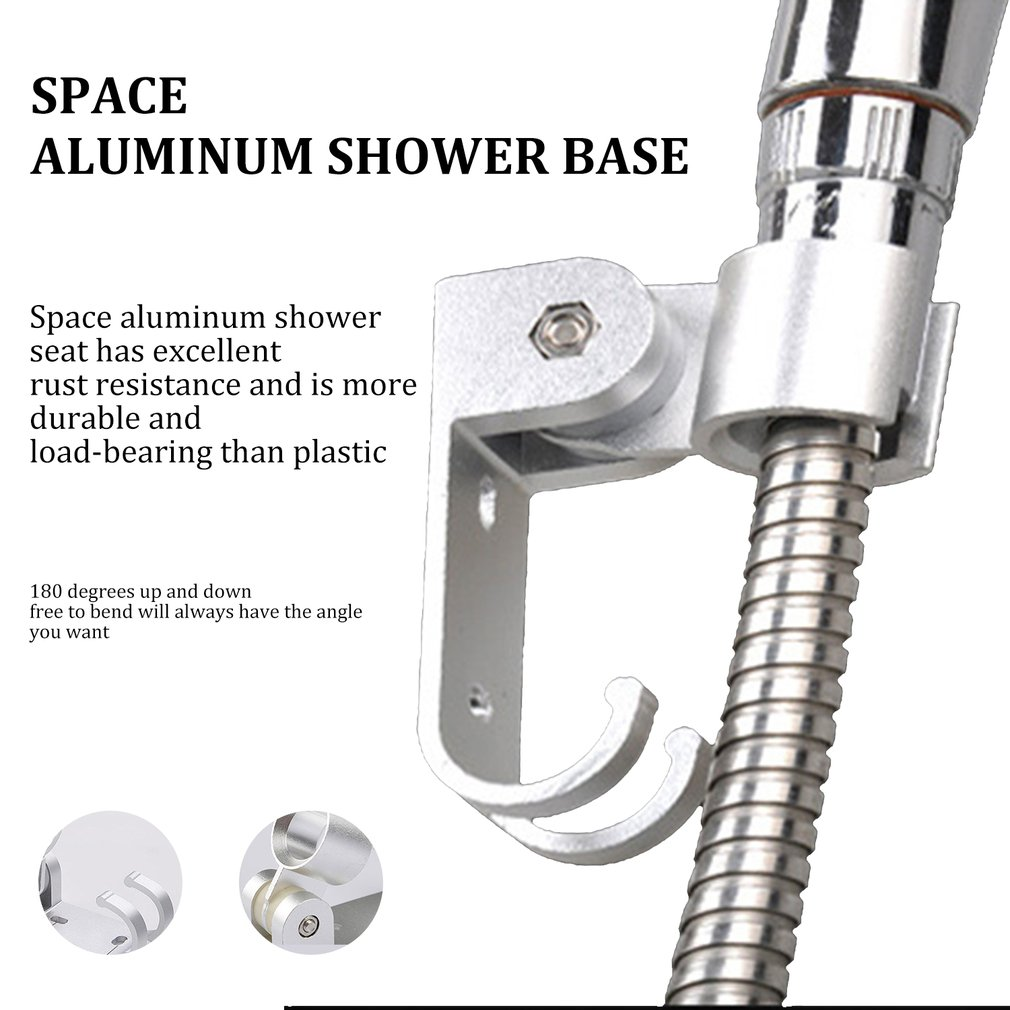 Space Aluminum Shower Base Shower Shower Bracket Hook Aluminum Seat Aluminum Bottom Shower Base Strong Adhesive