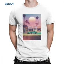 Vaporwave Tee Shirt Synthwave Sunset Drive T Shirts Purified Loose Latest Male Short Sleeve T-Shirt Big Size Round Collar(China)