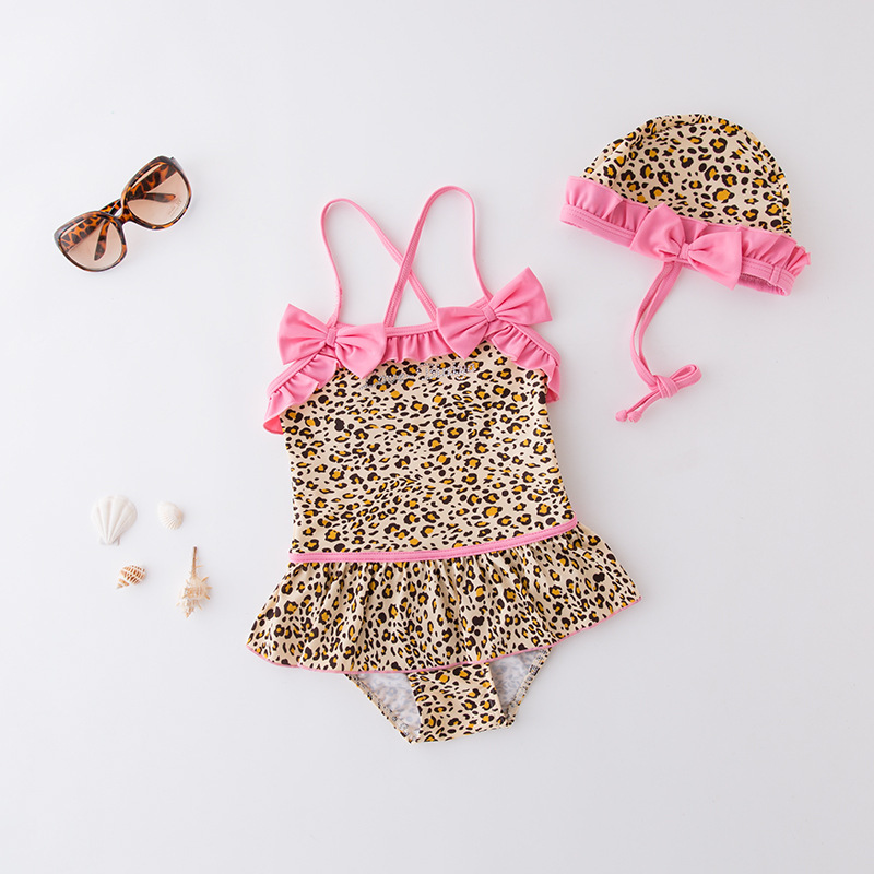 Short In Size Processing KID'S Swimwear GIRL'S One-piece Swimming Suit Leopord Pattern Camisole Triangular Qun Shi Yong Assembly
