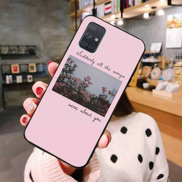 Rosa letras de canciones de estética Coque caja del teléfono de la cáscara del teléfono para Samsung A10 A20 A30 A40 A50 A70 A80 A71 A91 A51 A6 A8 2018
