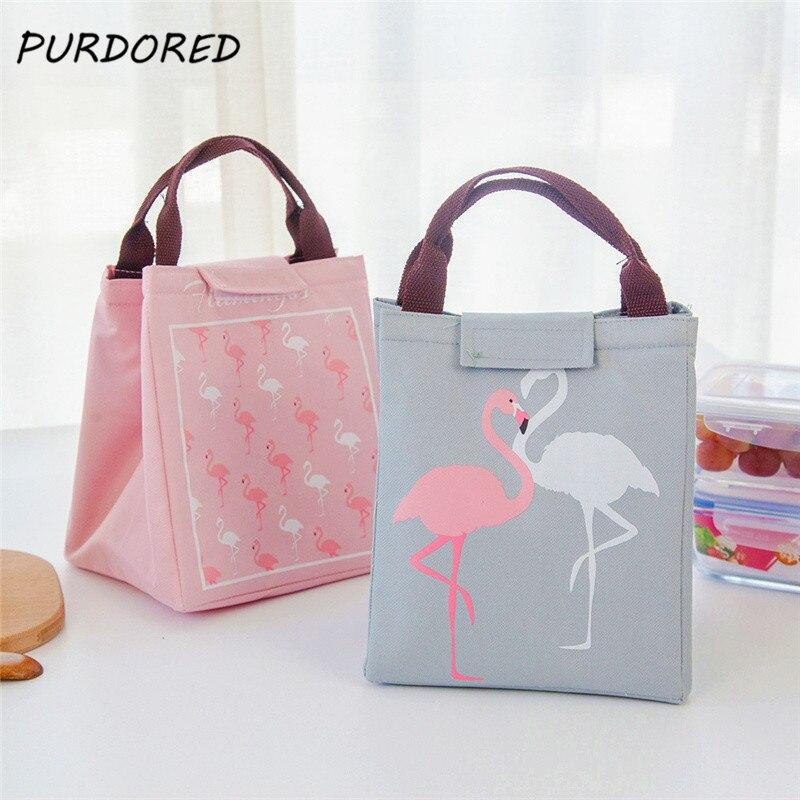 PURDORED 1 Pc Women Flamingo Lunch Bag Waterproof Oxford Beach Picnic Food Bag  Student Kid  Picnic Bento Tote Cooler Bag