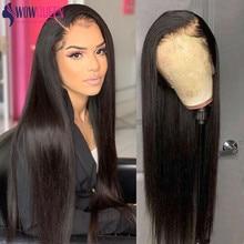 30 дюймов Синтетические волосы на кружеве парик прямые парики из натуральных волос на кружевной перуанский прямые Закрытие парик WowQueen предв...