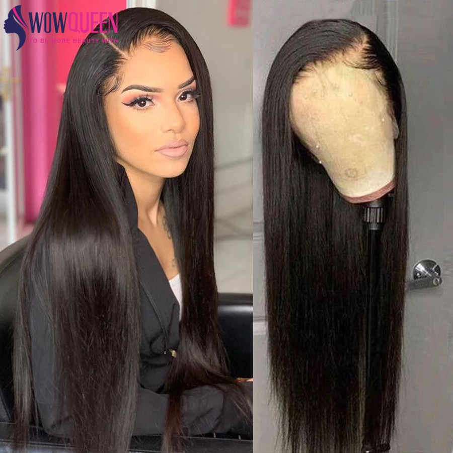 Peluca Frontal de encaje 360, peluca completa de 30 pulgadas, peluca recta peruana 4x4/6x6, peluca de cierre, pelucas de cabello humano Remy de encaje recto