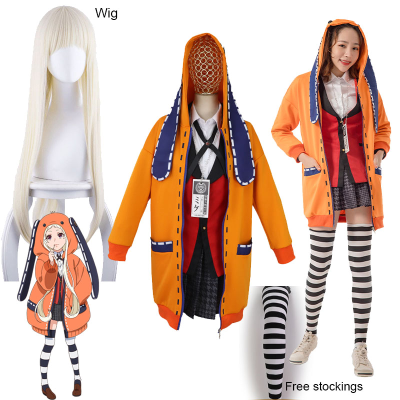 Yomoduki Runa Cosplay Costume Kakegurui Compulsive Gambler Runa Cosplay Wig and Orange Hooded Jacket JK Uniforms0 (1)