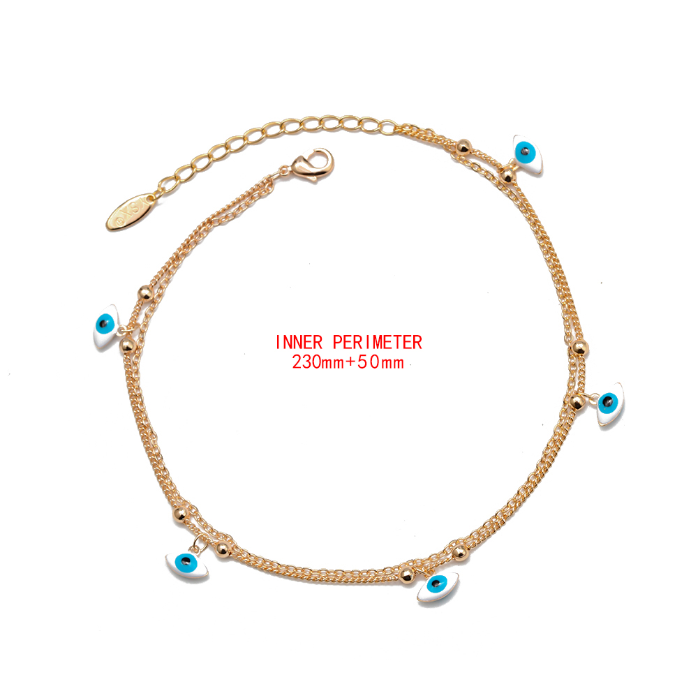 Lucky Eye Water Drop Star Heart Charm Anklet Multi Layer Gold Color Foot Chain Evil Eye Ankle Bracelet for Women Jewelry BD78 4