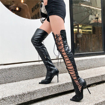 Sexy  women knee high boots hollow out summer bootsribbon lace up thigh high boot out strappy gladiator heels 1