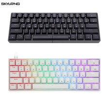 Портативная механическая клавиатура GK61 SK61 60%, оптические переключатели Gateron, RGB подсветка, горячая переключение, Проводная игровая клавиату...