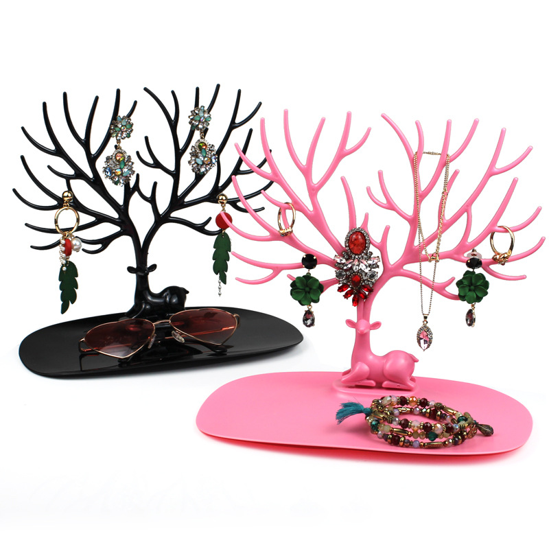 WE Black White Pink Rose Red Deer Earrings Necklace Ring Pendant Bracelet Jewelry Cases&Display Stand Tray Tree Storage jewelry 3