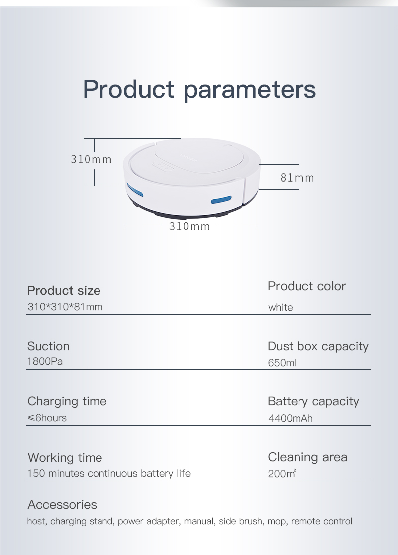 IKONKA V88 Automatically Chargeable Robot Vacuum Cleaner For Hard Floors and Carpet 19